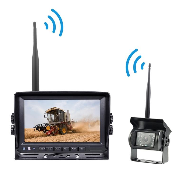 Kamery, monitory - Parkovací set analog - kamera + 7.0 monitor / bezdrátový přenos, noční vidění 12/24V