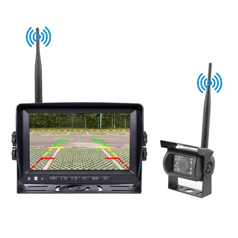 Kamery, monitory - Parkovací set digital - kamera + 7.0 monitor / bezdrátový přenos s nočním viděním 12/24V