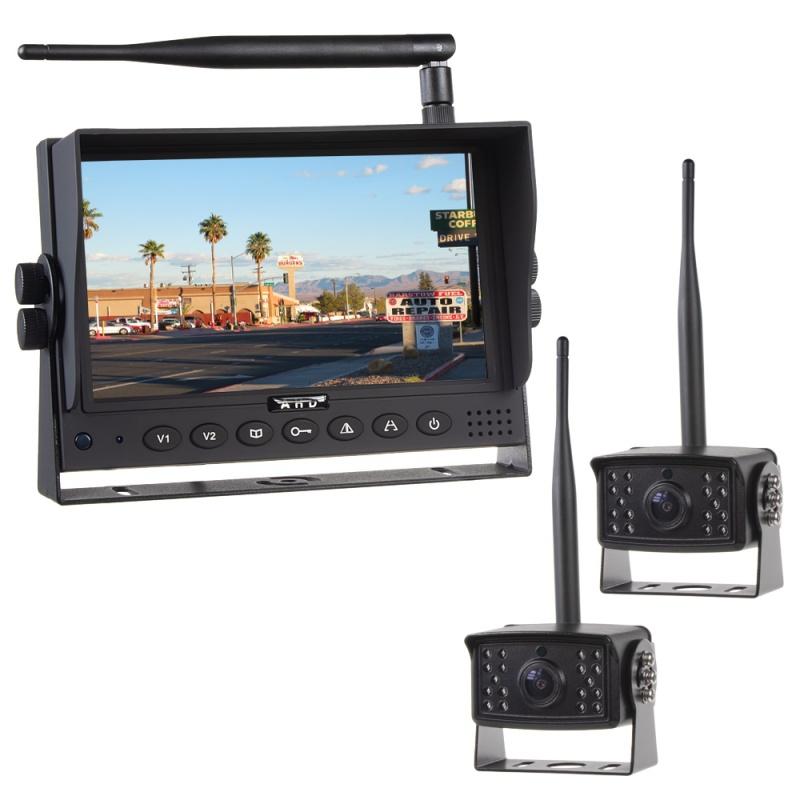 Kamery, monitory - Parkovací set  2x digital - kamera + 7.0 monitor / bezdrátový přenos s nočním viděním 12/24V