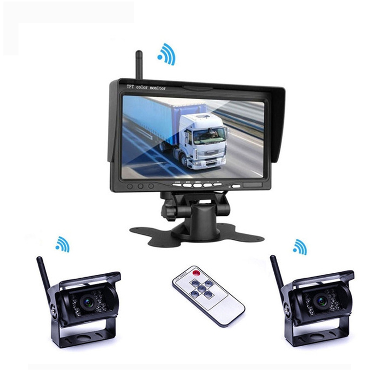 Kamery, monitory - Parkovací set  2x analog- kamera + 7.0 monitor / bezdrátový přenos s nočním viděním 12/24V