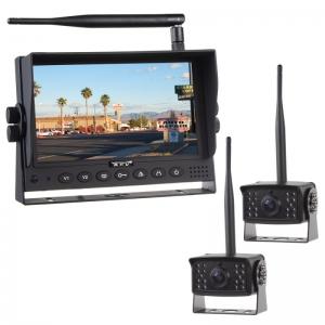 Parkovací set  2x digital - kamera + 7.0 monitor / bezdrátový přenos s nočním viděním 12/24V